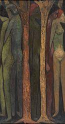 Vishvanath Nageshkar, Tree of Life (1963). Oil on canvas. 94 x 50 cm / 37 x 19.6 in. CourtesyGalerie Mirchandani + Steinruecke.