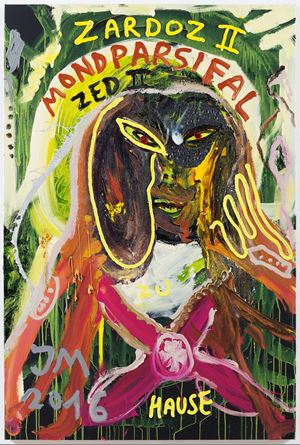 """SORRY, ABER MEIN RICHTIGER NAME IST DOC DJIFFI DE CRYREUTH, SORRY, ABER SO IST'S..."" by Jonathan Meese contemporary artwork"