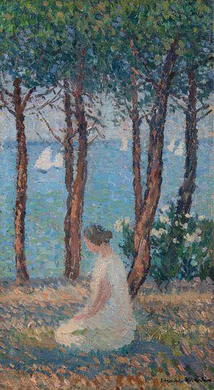 Jeune fille dans un parc (Muse agenouillée sous les pins devant la mer) by Henri Martin contemporary artwork