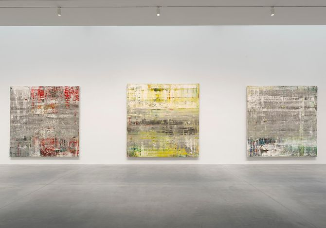 Exhibition view: Gerhard Richter, Cage Paintings, Gagosian, 541 West 24th Street, New York (19 April–26 June 2021). © Gerhard Richter 2021. Courtesy Gagosian.Photo: Rob McKeever.