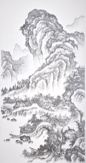 Imitating Landscape Painting by Anonymous Artist, Song Dynasty 3 臨摹宋佚名山水圖之三 by Chen Chun-Hao contemporary artwork