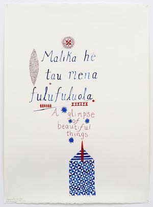 Malika he tau mena fulufuluola (LA to Honolulu) by John Pule contemporary artwork painting, works on paper, drawing