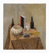 Still life with meteorite and screwdriver by Simon Stone contemporary artwork painting, works on paper