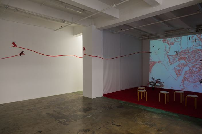 Exhibition view: Mithu Sen, I have only one language; it is not mine, Thomas Erben Gallery, New York (12 January–16 February 2019). Courtesy Thomas Erben Gallery.