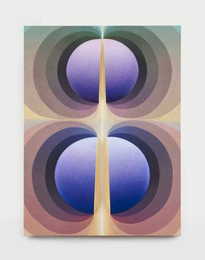 Split orbs in mauve, yellow, teal and purple by Loie Hollowell contemporary artwork