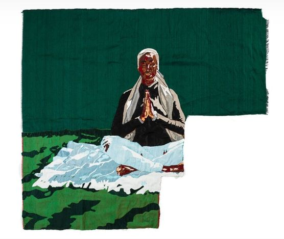Billie Zangewa, Body and Soul (2021). Hand-stitched silk collage. 71 x 71 cm. Courtesy Lehmann Maupin.