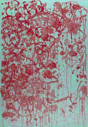 2064 Crimson Flowers in Full Bloom by Ye-Cheng Yen contemporary artwork
