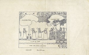 Drawing, Composition of a Pichhvai painting – Rasa Lila, part of her research 'Painted Pichhvais of Nathadwara' by Nilima Sheikh contemporary artwork