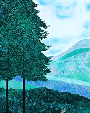 Landscape (Two Trees and Hills) by Sally Ross contemporary artwork