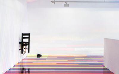 Jim Lambie, Zero Concerto, 2015,Exhibition view, Roslyn Oxley9 Gallery, Sydney. CourtesyRoslyn Oxley9 Gallery, Sydney.
