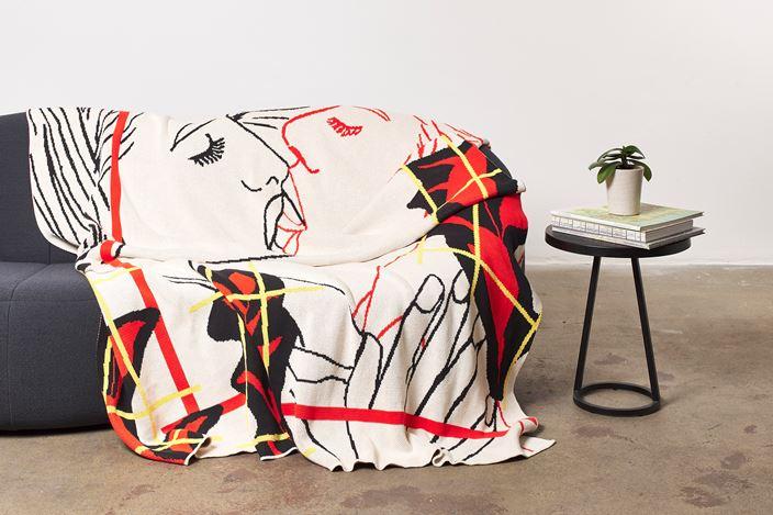 Reza Farkhondeh & Ghada Amer, House of Lust (2019). 100% cotton blanket. Courtesy Goodman Gallery.