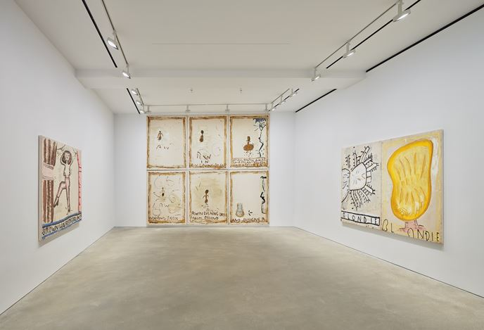 Exhibition view: Rose Wylie, painting a noun…, David Zwirner, Hong Kong (9 January–22 February 2020). Courtesy David Zwirner.