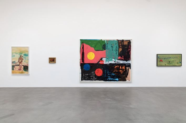 Exhibition view: Group Exhibition, American Pastoral, Gagosian, Britannia Street, London (23 January–14 March 2020). Artwork, left to right: © Richard Prince, © Albert Bierstadt, © Joe Bradley, © 2020 Helen Frankenthaler Foundation Inc./Artists Rights Society (ARS), New York. Courtesy Gagosian. Photo: Lucy Dawkins.
