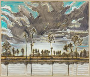 trees and sky by Billy Childish contemporary artwork