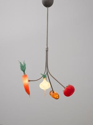 Vegetables Falling From The Sky Chandelier by Laure Prouvost contemporary artwork