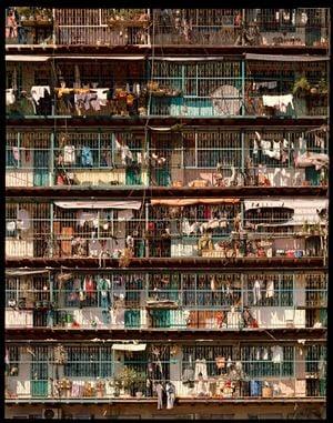 'Caged Balconies #2', City of Darkness, Hong Kong by Ian Lambot contemporary artwork
