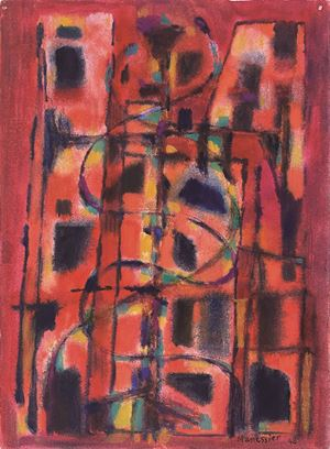 Red composition by Alfred Manessier contemporary artwork