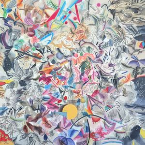 밤1시 20분 까마귀 숲 속의 복숭아나무 by Woo Tae Kyung contemporary artwork painting, works on paper