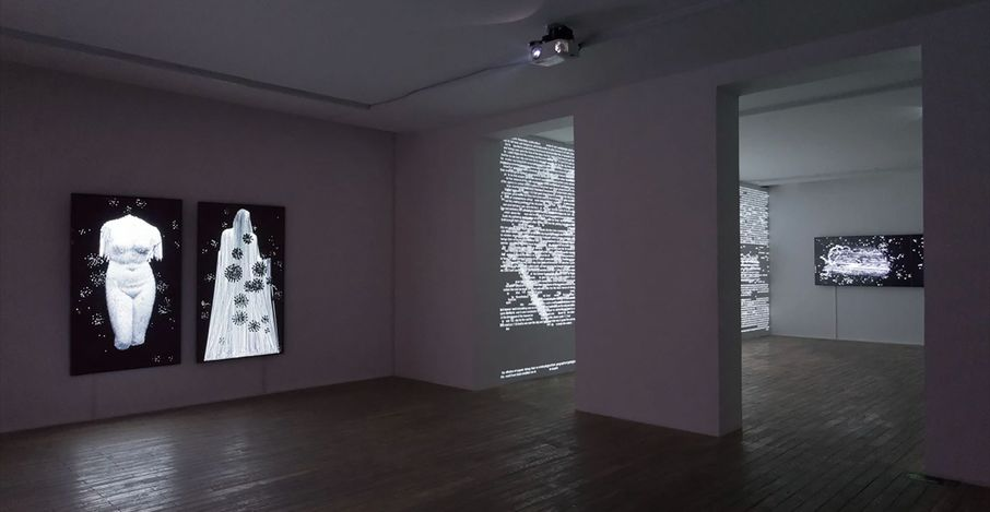 Charles Sandison, Arcadia (2021). Multi-channel data projection installation, computers, C++ code. Duration infinite. Courtesy HdM Gallery, Beijing.