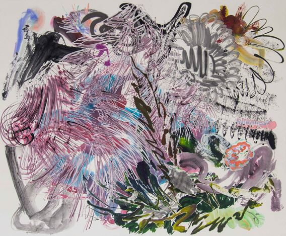 Wu Jian'an, 500 Brushstrokes #55 五百笔 #55 (2019). Ink, watercolour, paper cut and collage on Xuan paper. 135 x 165 cm (53 x 65 in). Courtesy Chambers Fine Art, New York.