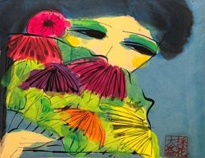Girl with a Floral Fan by Walasse Ting contemporary artwork