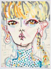 the kiss in her eyes - yr very hard to read - loose flow by Del Kathryn Barton contemporary artwork mixed media