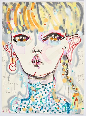 the kiss in her eyes - yr very hard to read - loose flow by Del Kathryn Barton contemporary artwork