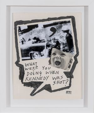 What were you doing when Kennedy was shot? by Derek Boshier contemporary artwork works on paper, mixed media