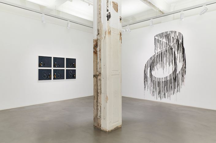 Exhibition view: Robin Rhode & Nari Ward, Power Wall, Lehmann Maupin, Hong Kong (3 April–18 June 2020). Courtesy the artists and Lehmann Maupin, New York, Hong Kong, and Seoul.Photo: Owen Wong.