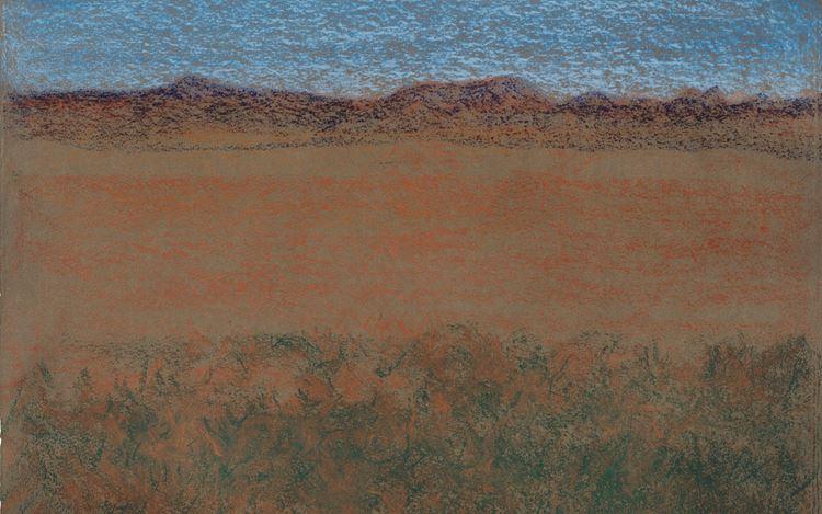 Richard Artschwager, Horizontal Landscape with Blue Mountains (2010) (detail). Pastel on handmade paper. 45.7 × 60 cm. © Estate of Richard Artschwager/Artist Rights Society (ARS), NY2020/VG Bild-Kunst, Bonn 2020. Courtesy Gagosian Gallery and Sprüth Magers. Photo: © Robert McKeever.