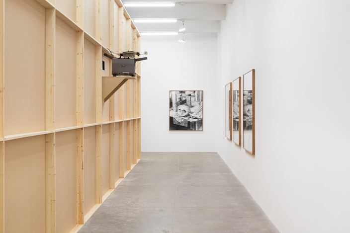 Exhibition view: João Maria Gusmão + Pedro Paiva, WHERE THE SORCERER DOESN'T DARE TO STICK HIS NOSE and Another B&W Ghost Show, Andrew Kreps Gallery, New York (6 September–27 October 2018). Courtesy the Artist and Andrew Kreps Gallery. Photo: Dawn Blackman.