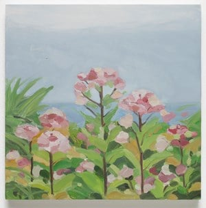 Pink Flowers / Ocean by Maureen Gallace contemporary artwork