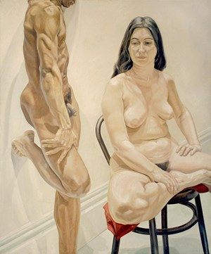 Standing Male, Sitting Female Nudes by Philip Pearlstein contemporary artwork