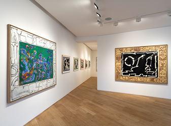 Exhibition view: Pierre Alechinsky, Travaux de l'année 2018, Galerie Lelong & Co., Paris (22 November 2018–19 January 2019). Courtesy Galerie Lelong & Co., Paris.