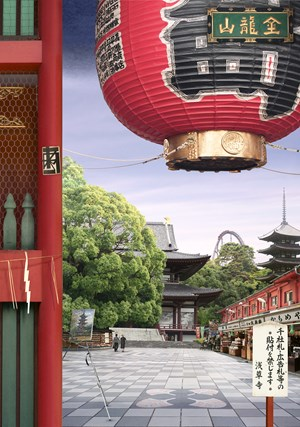 Tokyo Story 8: Temple (after Hiroshige) by Emily Allchurch contemporary artwork