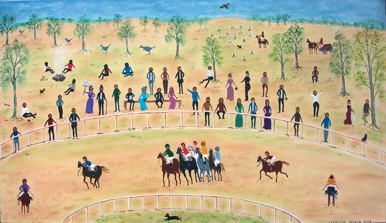 Marlene Gilson, The Country Racing (2019). Acrylic on linen, 40.5 x 70 cm. Courtesy Martin Browne Contemporary.