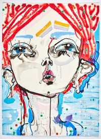 if you leave with me - the big kids started hugging me by Del Kathryn Barton contemporary artwork mixed media