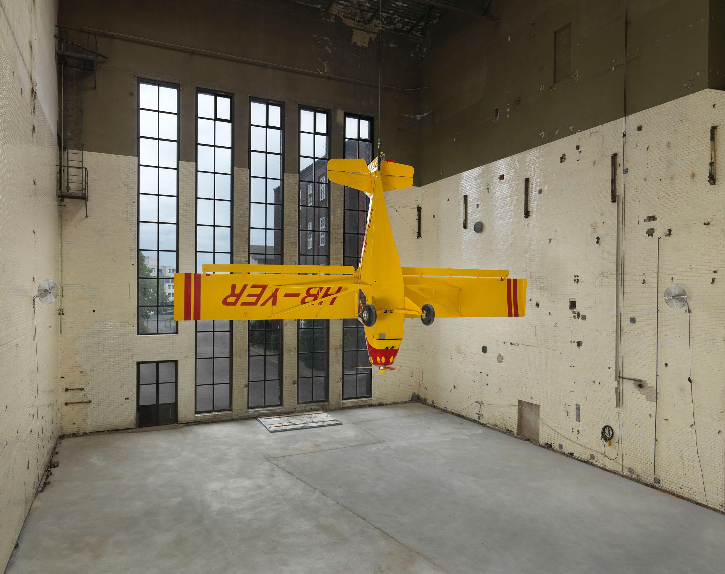 Image: Roman Signer, Kitfox Experimental, 2014. Installation in KINDL's Kesselhaus (Boiler House), September 14, 2014 - June 28, 2015. Photo: Jens Ziehe.