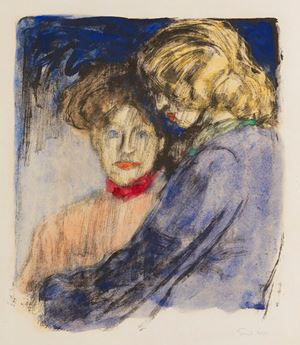 Junge Mädchen (Ada Nolde und Lis Vilstrup); (Young Girls (Ada Nolde and Lis Vilstrup)) by Emil Nolde contemporary artwork
