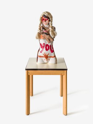 """DER BLONDANDADDY ENGEL IM NETZ! (DR. SPIRITUSSILL)"" by Jonathan Meese contemporary artwork"