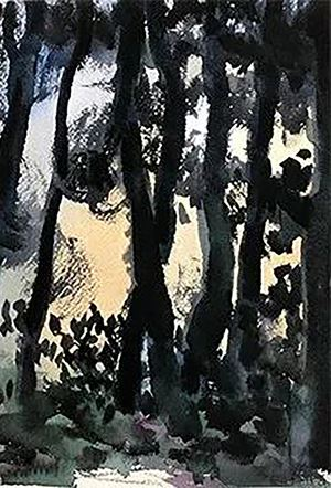 Watercolor in the Forest No.10 by Wang Jun contemporary artwork painting, works on paper