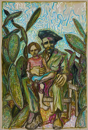 amongst cactus, sitting by Billy Childish contemporary artwork