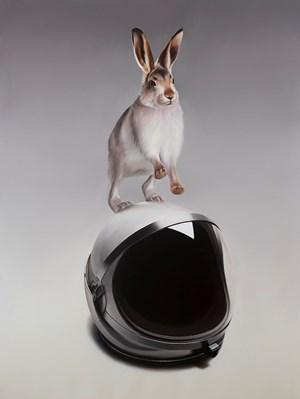 Snow Hare with Shuttle Helmet by Sam Leach contemporary artwork
