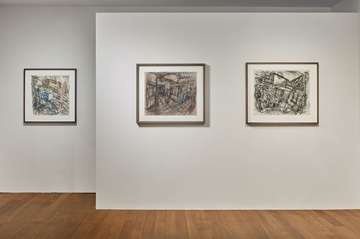 Exhibition view: Leon Kossoff, Everyday London, Timothy Taylor, New York (29 March–24 May 2019). Courtesy Timothy Taylor.