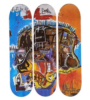 Skateboard Triptych Skull by Jean-Michel Basquiat contemporary artwork