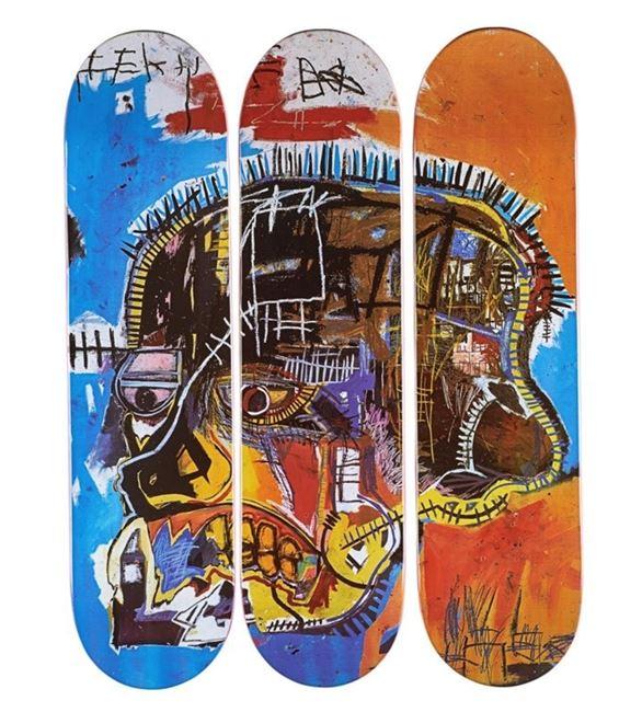 Skateboard Triptych Skull by Jean-Michel Basquiat contemporary artwork