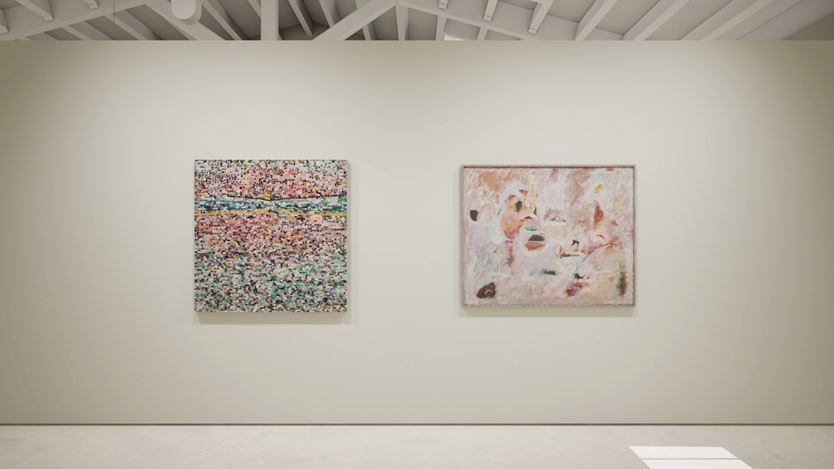 Exhibition view: Created in HWVR, Arshile Gorky & Jack Whitten, picturing Jack Whitten, Quantum Wall, VIII (For Arshile Gorky, My First Love In Painting) (2017) and Arshile Gorky, Untitled (c. 1947–1948). © (2019) The Arshile Gorky Foundation / Artists Rights Society (ARS) / © Jack Whitten Estate. Courtesy the estates and Hauser & Wirth.