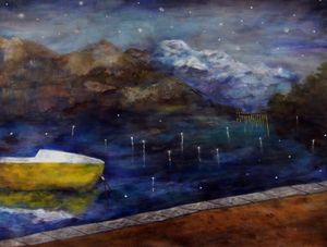 Winter Lake by Sohyun Park (삿갓) contemporary artwork painting, works on paper