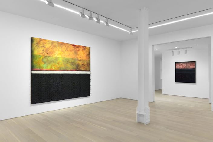 Exhibition view: Vaughn Spann,The Heat Lets us Know We're Alive, Almine Rech, New York (15 January–22 February 2020). Courtesy the Artist and Almine Rech. Photo: Matt Kroening.