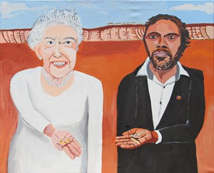 Queen Elizabeth & Vincent (On Country) by Vincent Namatjira contemporary artwork